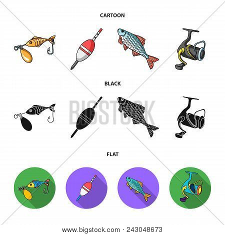 Fishing, Fish, Catch, Hook .fishing Set Collection Icons In Cartoon, Black, Flat Style Vector Symbol
