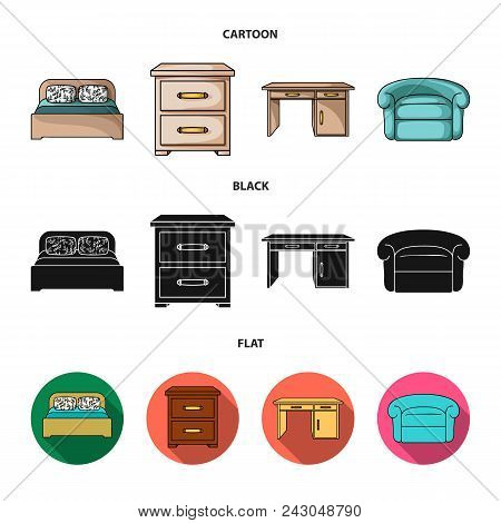 Interior, Design, Bed, Bedroom .furniture And Home Interiorset Collection Icons In Cartoon, Black, F