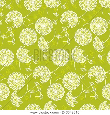 Tender Geometric Style Dandelion Flowers Seamless Pattern. Decorative Pale Color Floral Abstract Rep