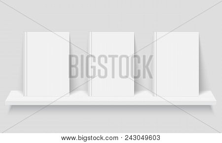 Mockup Of Books With Empty Covers On Bookshelf. With Empty Covers On Bookshelf. Realistic Vector Ill