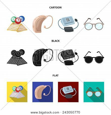 Lottery, Hearing Aid, Tonometer, Glasses.old Age Set Collection Icons In Cartoon, Black, Flat Style
