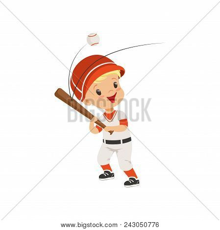 Baseball Player Boy Hitting The Ball, Kids Physical Activity Concept Vector Illustration Isolated On