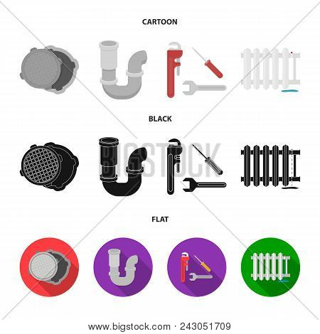 Sewage Hatch, Tool, Radiator.plumbing Set Collection Icons In Cartoon, Black, Flat Style Vector Symb