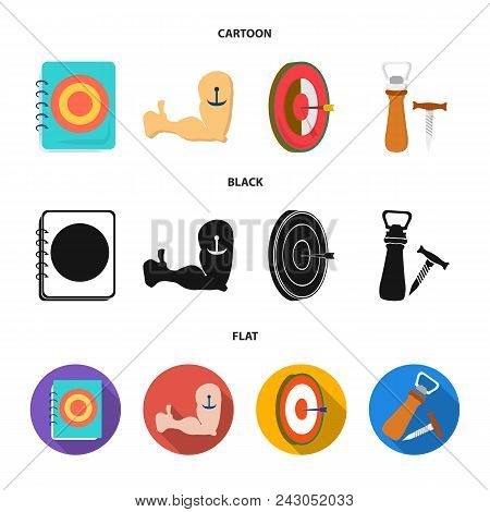Menu, Armor With Tattoo, Darts, Corkscrew And Opener.pub Set Collection Icons In Cartoon, Black, Fla