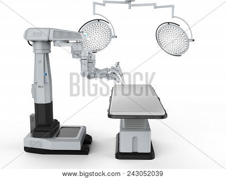 3d rendering surgery room with robotic surgery machine on white background poster