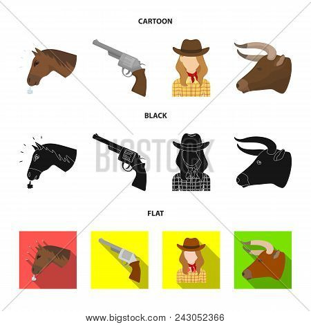 Head Of A Horse, A Bull Head, A Revolver, A Cowboy Girl.rodeo Set Collection Icons In Cartoon, Black
