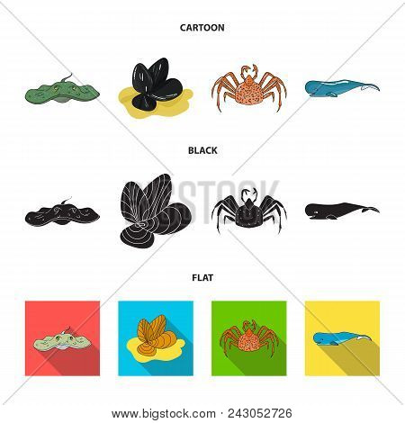 Electric Ramp, Mussels, Crab, Sperm Whale.sea Animals Set Collection Icons In Cartoon, Black, Flat S