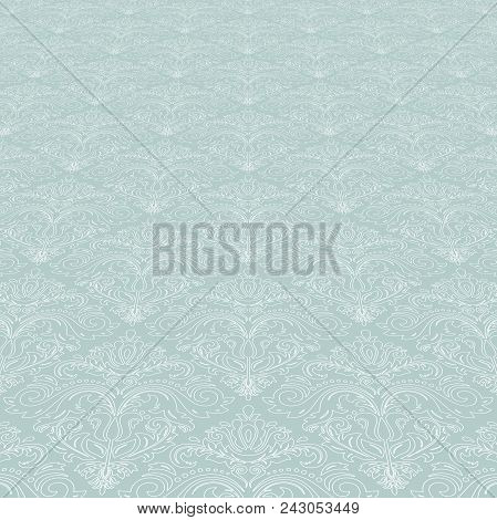 Classic Vector Light Blue And White Pattern. Damask Orient Ornament. Classic Vintage Background. Ori