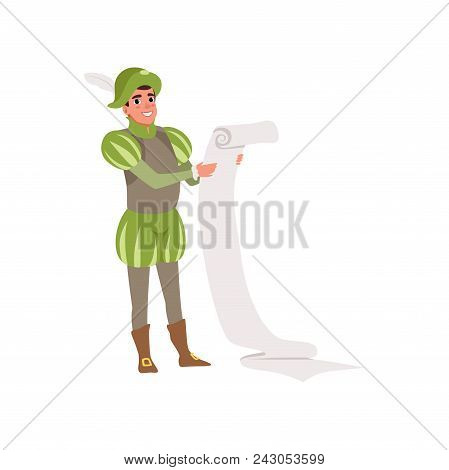 Royal Scribe European Medieval Character Holding A Scroll Vector Illustration Isolated On A White Ba