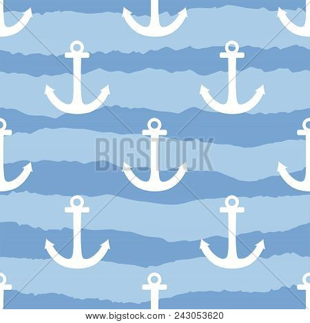 Tile Sailor Vector Pattern With White Anchor On Navy Blue Stripes Background
