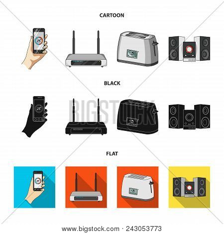 Home Appliances And Equipment Cartoon, Black, Flat Icons In Set Collection For Design.modern Househo