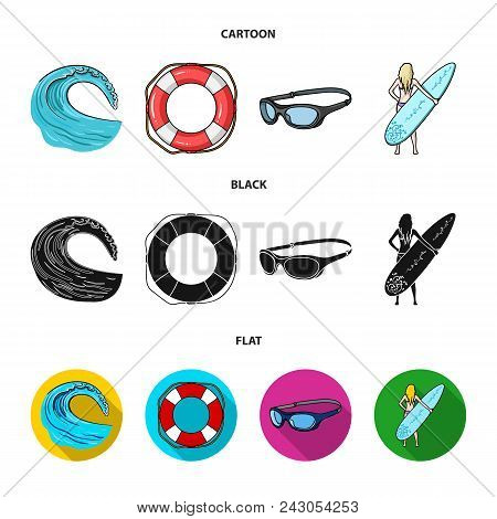 Oncoming Wave, Life Ring, Goggles, Girl Surfing. Surfing Set Collection Icons In Cartoon, Black, Fla