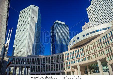 Tokyo, Japan - November 12: Modern Skyscrapers Towering Above The Tokyo Metropolitan Assembly In Shi