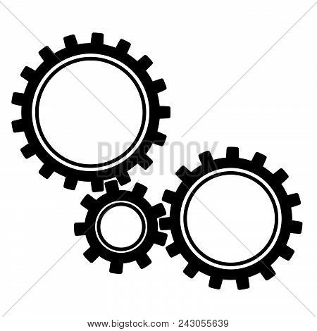 Gears. Black Gears Of Different Sizes. Vector Illustration Icon Gears.