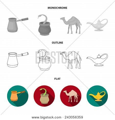 Cezve, Oil Lamp, Camel, Snake In The Basket.arab Emirates Set Collection Icons In Flat, Outline, Mon