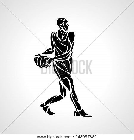 Basketball Player Abstract Silhouette. Crossover Dribble. Eps 10