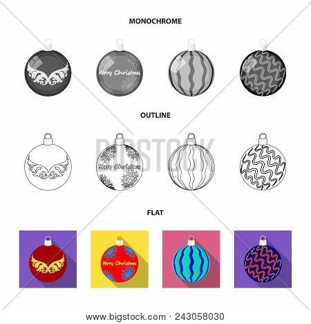New Year Toys Flat, Outline, Monochrome Icons In Set Collection For Design.christmas Balls For A Tre