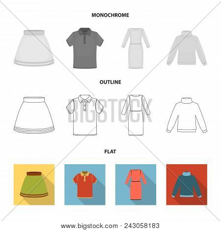 Skirt, T-shirt, Sweater, Dress With Long Sleeves.clothing Set Collection Icons In Flat, Outline, Mon