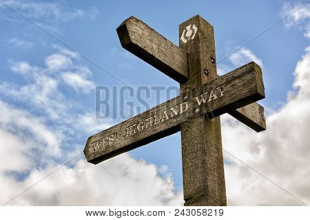 Signpost On The West Highland Way In Scotland