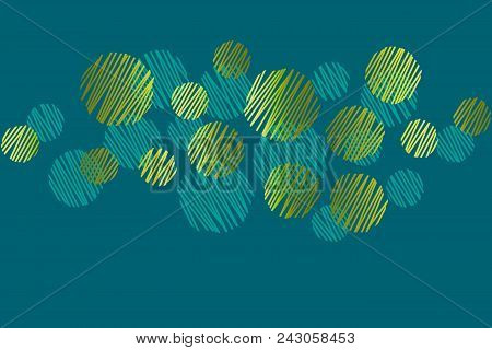 Abstract Round Dots Green Header Pattern. Geometric  Design Element. Gold Simple Elegant Stock Vecto
