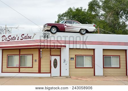 Ash Fork, Arizona - July 24, 2017: Desoto Salon In Ash Fork, Arizona, Advertised Itself By Placing A