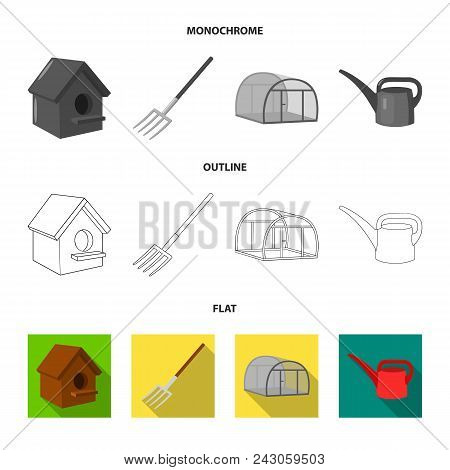 Poultry House, Pitchfork, Greenhouse, Watering Can.farm Set Collection Icons In Flat, Outline, Monoc