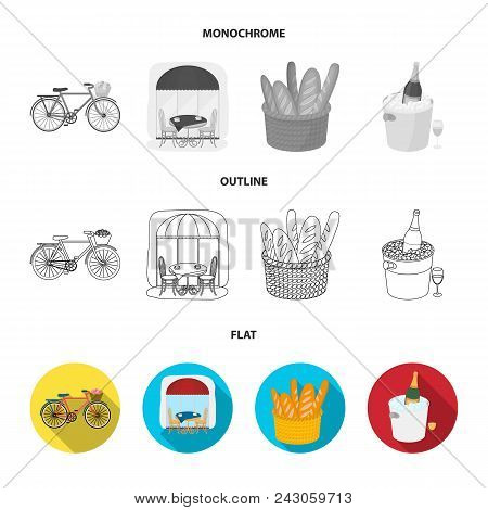 Bicycle, Transport, Vehicle, Cafe .france Country Set Collection Icons In Flat, Outline, Monochrome