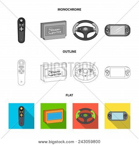 Game Console And Joystick Flat, Outline, Monochrome Icons In Set Collection For Design.game Gadgets
