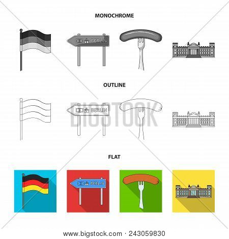 Country Germany Flat, Outline, Monochrome Icons In Set Collection For Design. Germany And Landmark V