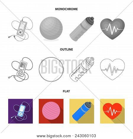 Player, A Bottle Of Water And Other Equipment For Training.gym And Workout Set Collection Icons In F