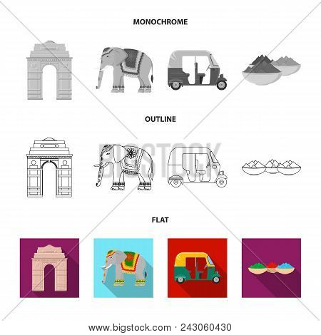 Country India Flat, Outline, Monochrome Icons In Set Collection For Design.india And Landmark Vector