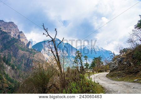 Mountain Road In The Mountains Of Nepal.