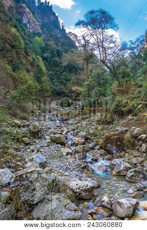 A Small Mountain River In Nepal.