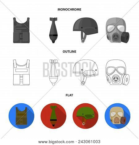 Bullet-proof Vest, Mine, Helmet, Gas Mask. Military And Army Set Collection Icons In Flat, Outline,