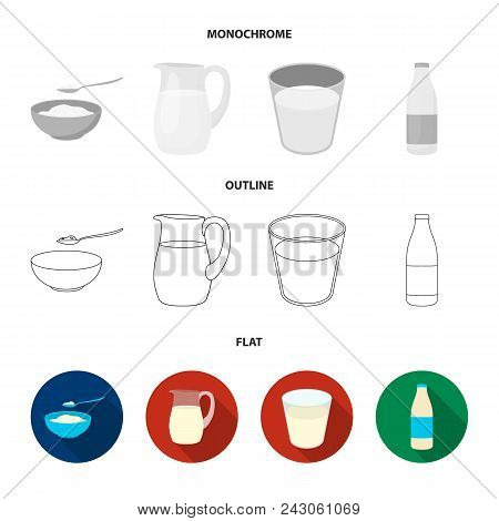 Bowl Of Cottage Cheese, A Glass, A Bottle Of Kefir, A Jug. Moloko Set Collection Icons In Flat, Outl