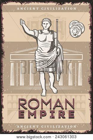 Vintage Roman Empire Poster With Inscription Julius Caesar Coins On Buildings Of Ancient Rome Civili
