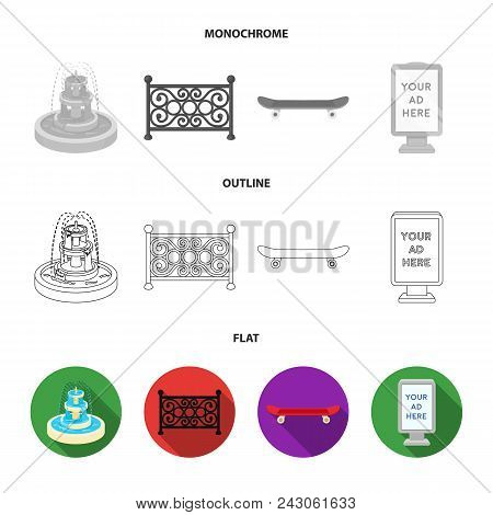 Fountain, Fence, Skate, Billboard.park Set Collection Icons In Flat, Outline, Monochrome Style Vecto