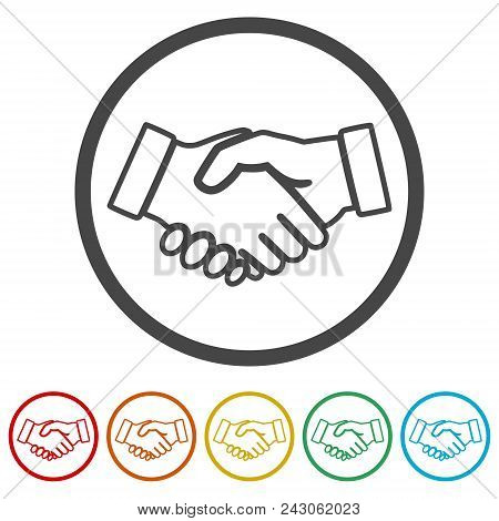 Partnership Icon, Handshake, 6 Colors Included, Simple Icons Set