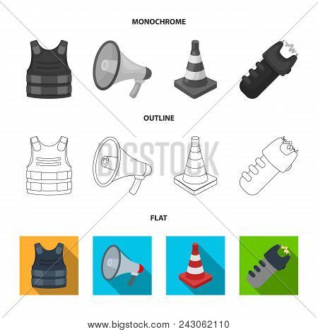 Bulletproof Vest, Megaphone, Cone Of Fencing, Electric Shock. Police Set Collection Icons In Flat, O