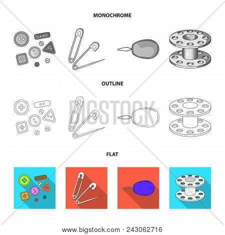 Buttons, Pins, Coil And Thread.sewing Or Tailoring Tools Set Collection Icons In Flat, Outline, Mono