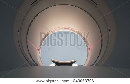 PET/CT Machine round hole. Positron emission tomography-computed tomography. Soft noise at 100% poster
