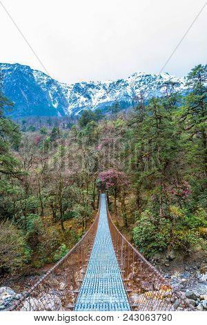 Suspension Bridge Over The Mountain River.