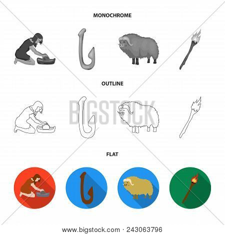 Cattle, Catch, Hook, Fishing .stone Age Set Collection Icons In Flat, Outline, Monochrome Style Vect