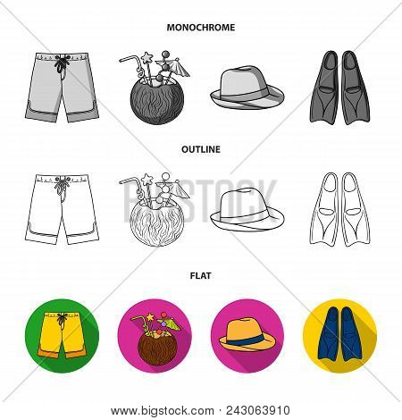 Swimming Trunks, Cocktail With Coconut, Panama And Flippers. Surfing Set Collection Icons In Flat, O