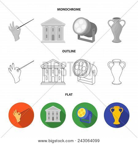 Conductor Baton, Theater Building, Searchlight, Amphora.theatre Set Collection Icons In Flat, Outlin