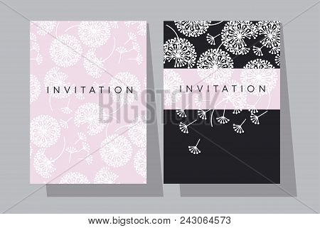 Pale Rose And Black Dandelion Flowers Card Template. Paris Style Abstract Floral Motif For Invitatio
