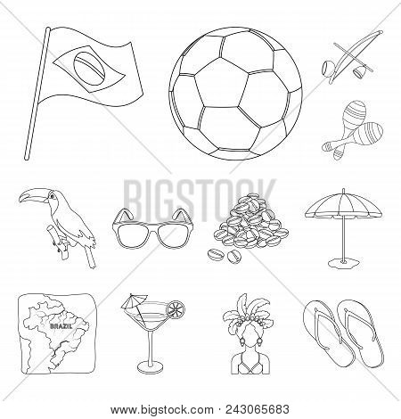 Country Brazil Outline Icons In Set Collection For Design. Travel And Attractions Brazil Vector Symb