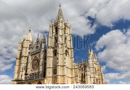 Top Of The Leon Cathedral In Spain