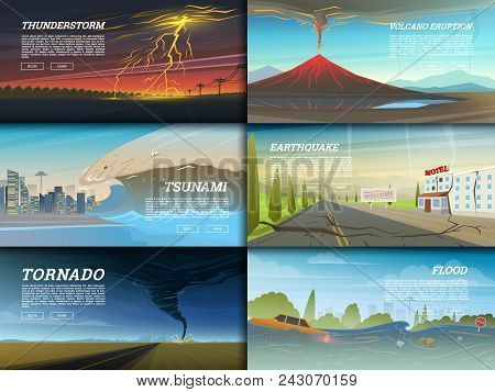 Set Of Natural Disaster Or Cataclysms. Catastrophe And Crisis Background. Realistic Tornado Or Storm