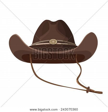 Vintage Cowboy Hat With Lace In Dark Brown Color. Stylish Retro Headdress Of Leather Or Suede. Elega